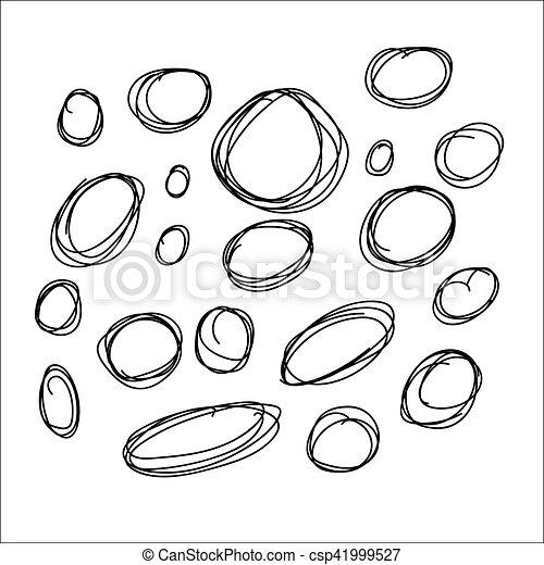 Círculos dibujados a mano, elementos de diseño de logo vector - csp41999527