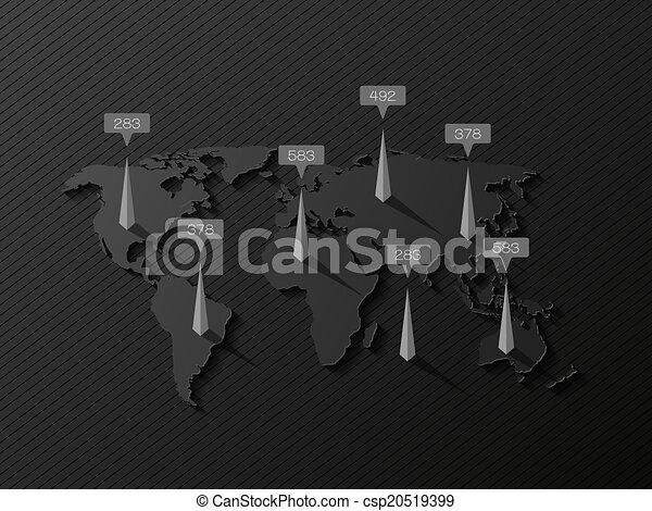 Mapa mundial con elementos gráficos - csp20519399