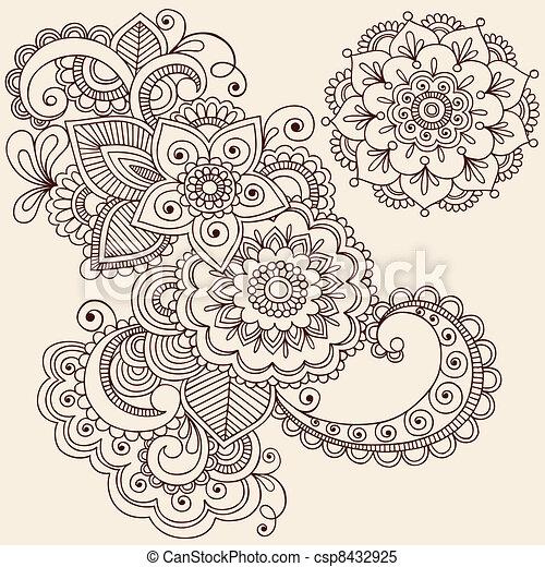 Henna mehndi diseño de tatuajes - csp8432925