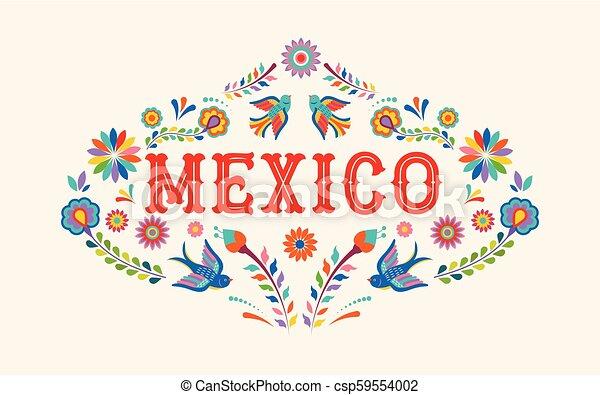 elementos, mexicano, coloridos, méxico, flores, fundo, bandeira, pássaros - csp59554002