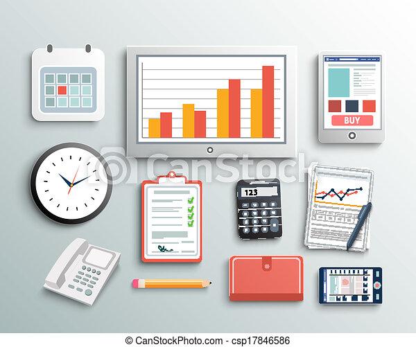 Gr fico vectorial de elementos oficina empresa negocio for Elementos para oficina