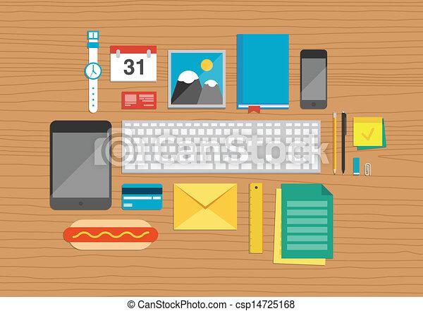 Los elementos de oficina sobre ilustraciones de escritorio - csp14725168