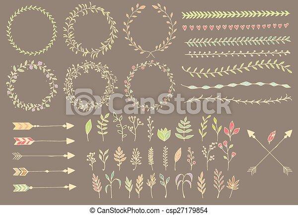 Flechas cosechadas a mano, plumas, divisores y elementos florales - csp27179854