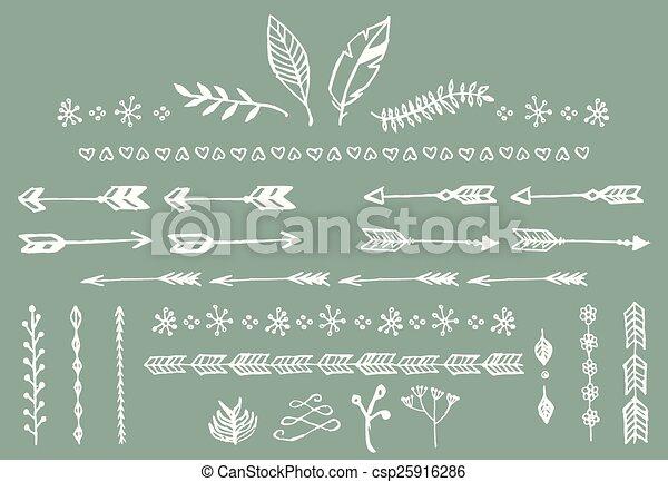 Flechas cosechadas a mano, plumas, divisores y elementos florales - csp25916286