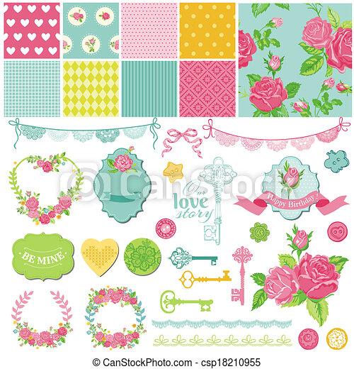 elementos, roto, -, tema, vetorial, desenho, scrapbook, floral, chique - csp18210955