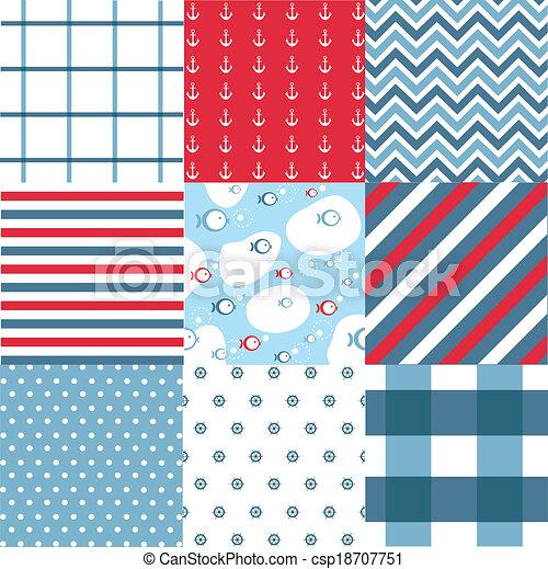 elementos, seamless, padrão, náutico - csp18707751