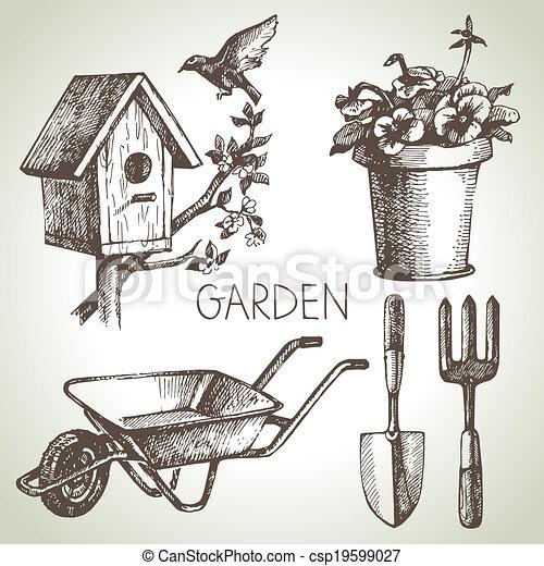 elementos, set., jardinagem, esboço, desenho, mão, desenhado - csp19599027