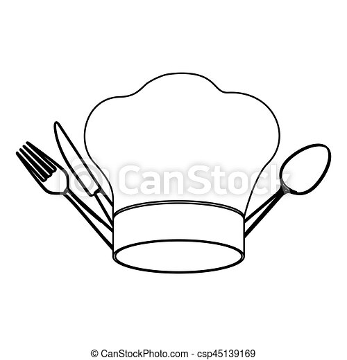 Clip art vectorial de elementos silueta cubiertos chef for Elementos de cocina para chef