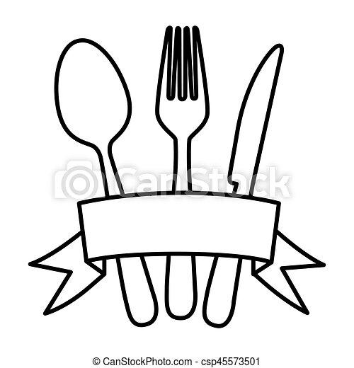 Elementos silueta cubiertos cinta cocina elementos for Elementos de cocina para chef