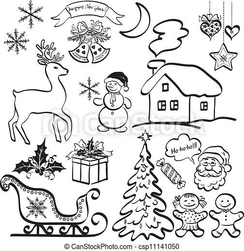 Elementos De Navidad Siluetas Negras Elementos De Navidad