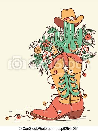Bota de vaquero con elementos navideños aislados en blanco. Ilustración de color a mano vectorizada - csp62541051