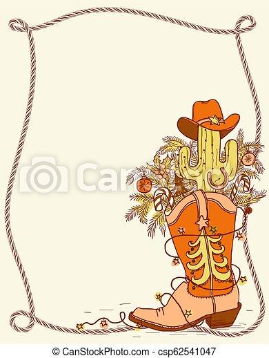 Bota de vaquero con elementos navideños. Ilustración de colores dibujada a mano - csp62541047