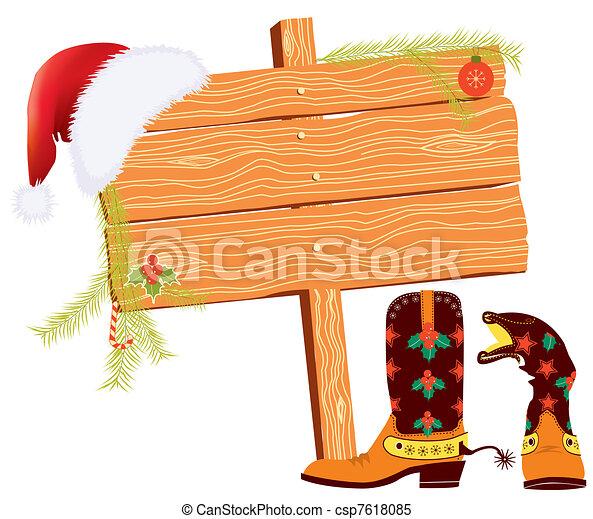 Historial de Navidad para textos con elementos vaqueros en blanco - csp7618085
