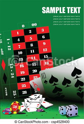 Elementos de casino sobre la mesa verde. Ve - csp4528400