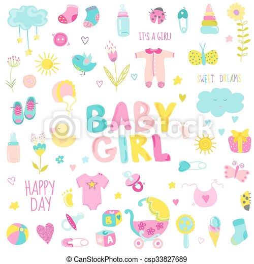Elementos de Diseño de Bebés para diseño y álbum de recortes en vector - csp33827689