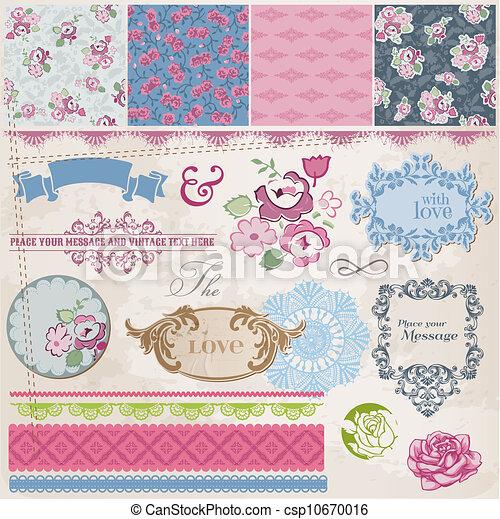 elementos, vendimia, -, frames-, vector, diseño, álbum de recortes, flores - csp10670016