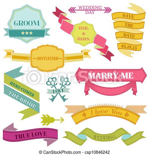 Elementos, vendimia, -, marcos, vector, diseño, boda, cintas.