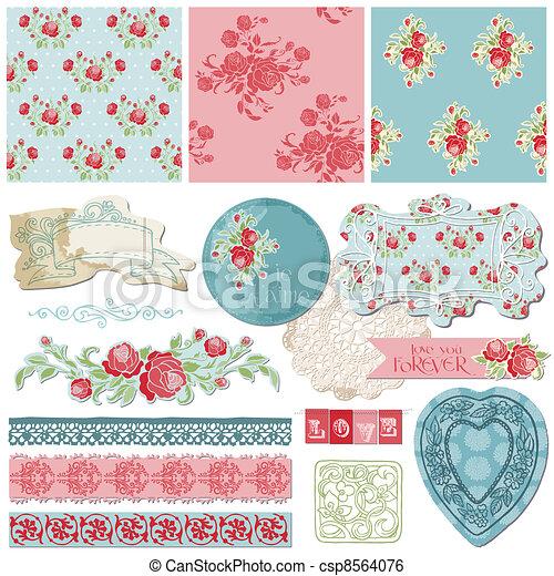elementos, vendimia, -, vector, diseño, álbum de recortes, flores - csp8564076