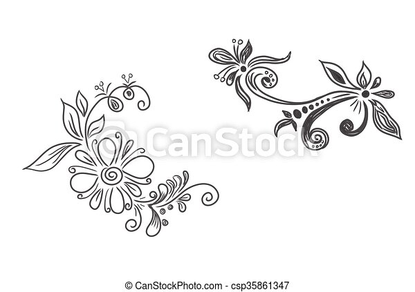 elementos, vetorial, floral - csp35861347
