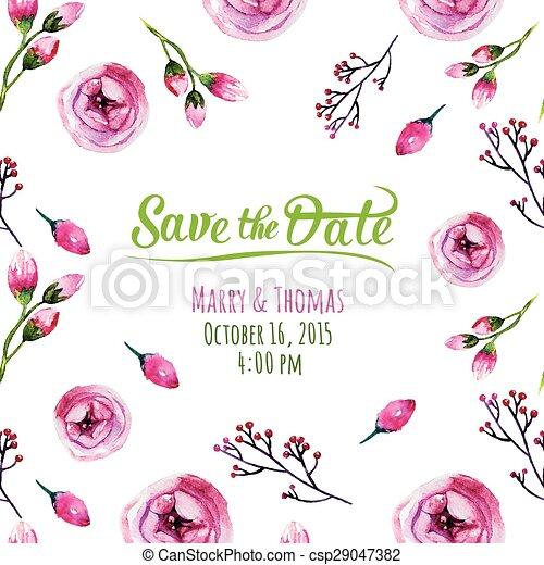 elements., 結婚式, 水彩画, 集めなさい, ベクトル, 招待, カード - csp29047382