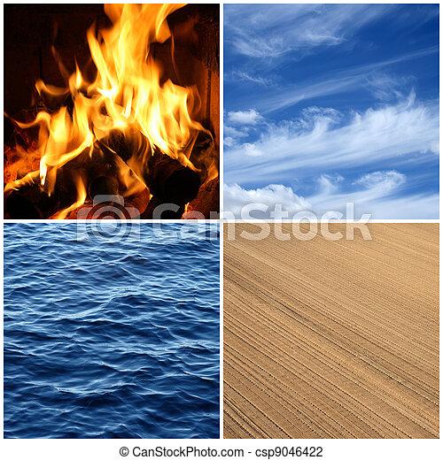 elements., luft, feuer, vier, wasser, earth. - csp9046422
