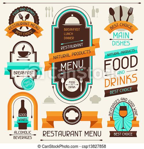 Menú de restaurante, pancartas y cintas, elementos de diseño. - csp13827858