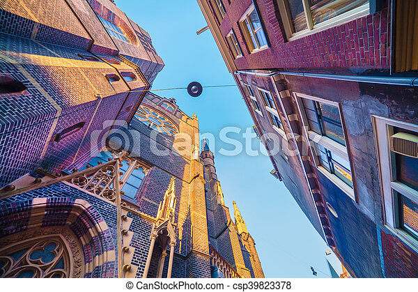 Elements of authentic Dutch architecture, wide angle shot in Amsterdam, the capital of the Netherlands, Europe. - csp39823378