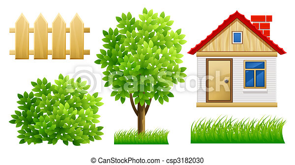 elements of green garden with house and fence - csp3182030