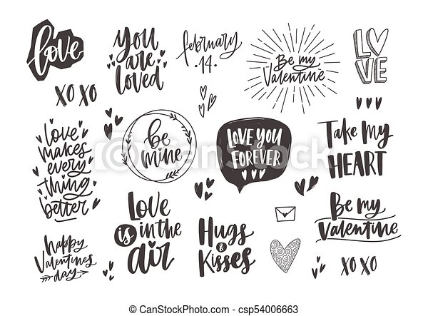 Elements., valentine, zitate, design, farben, poppig,... Clipart ...