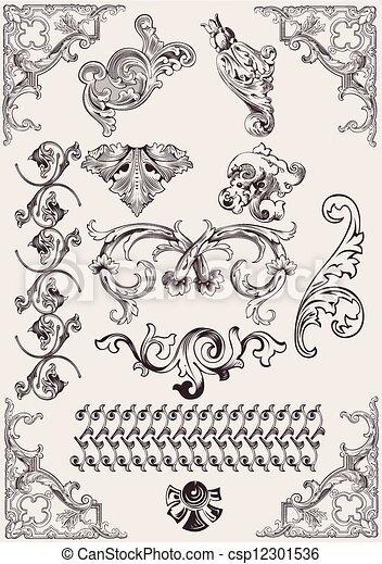 elementy, calligraphic, ozdoba, wektor, projektować, strona, set: - csp12301536