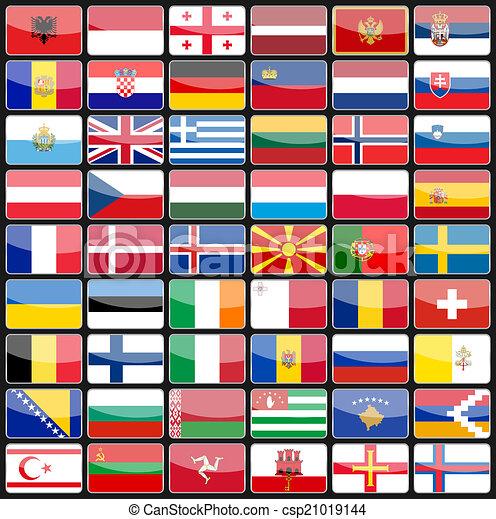 elementy, kraje, ikony, projektować, bandery, europe. - csp21019144