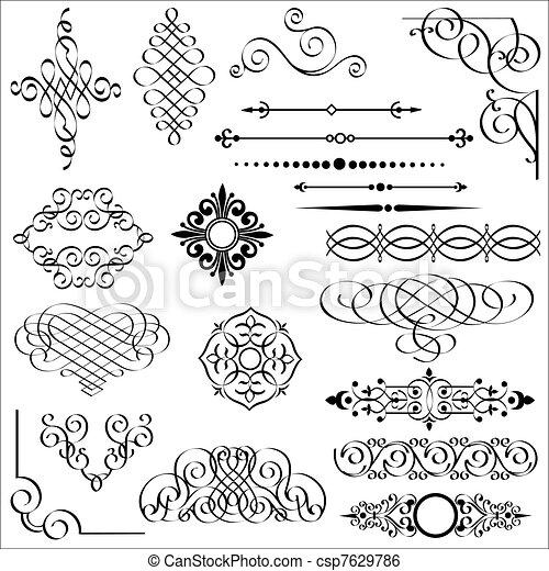 elementy, projektować, calligraphic - csp7629786