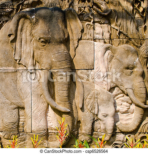 Elepahnt stone carved wall - csp6526564