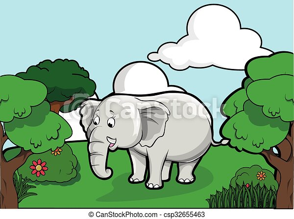 Elephant and Forest scenery - csp32655463
