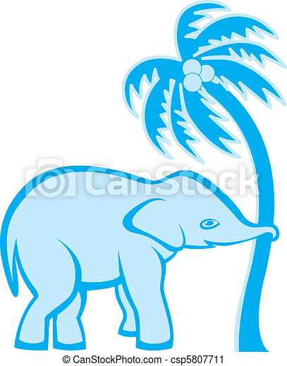 Elephant and palm tree - csp5807711