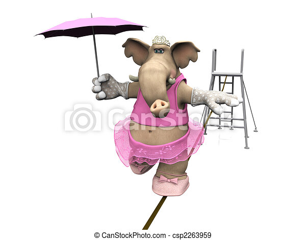 Elephant balancing on a wire. - csp2263959