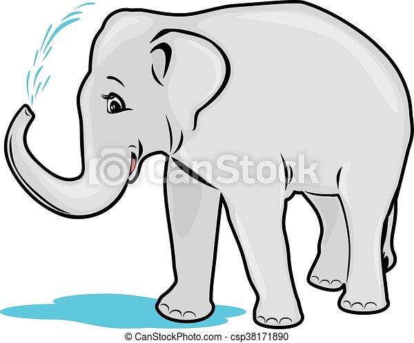 Elephant bathing - csp38171890