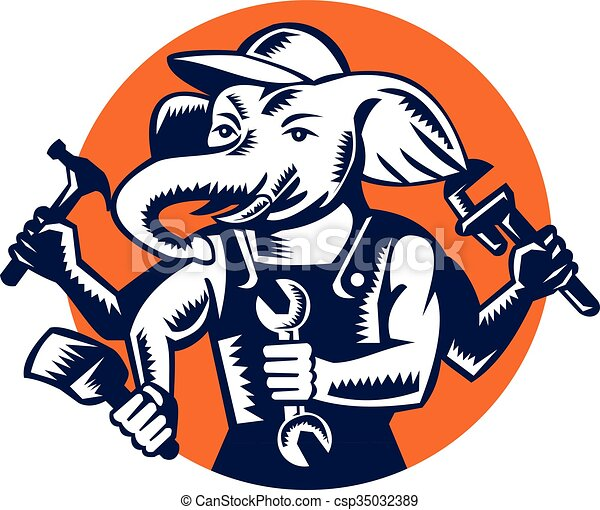 Elephant Builder Plumber Mechanic Painter Circle Retro - csp35032389