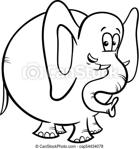 Elephant cartoon character coloring book. Black and white cartoon ...