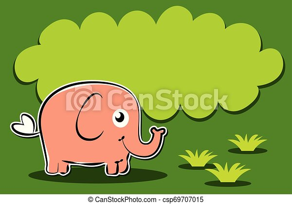 elephant cartoon character on grass with balloon text - csp69707015