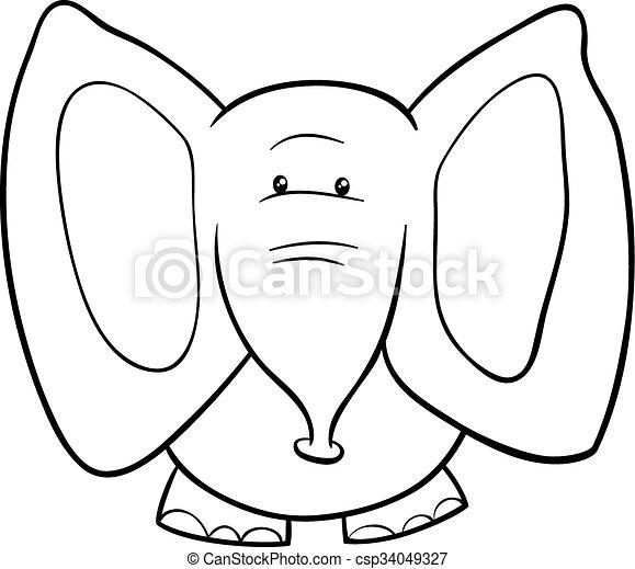 Elephant Cartoon Coloring Book