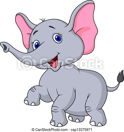Elephant cartoon dancing - csp13375971