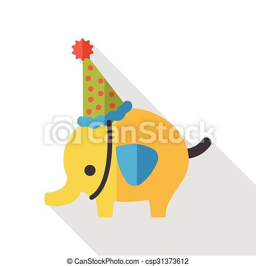 elephant cartoon flat icon - csp31373612