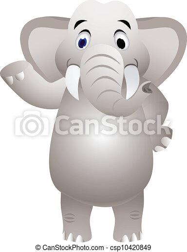 Elephant cartoon with hand waving - csp10420849