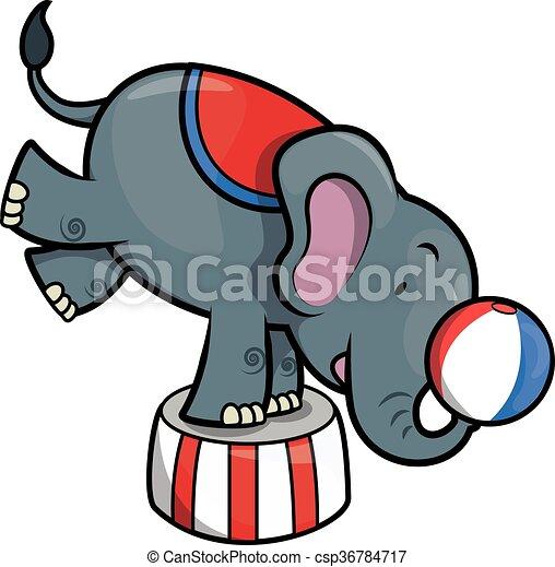 elephant circus illustration - csp36784717