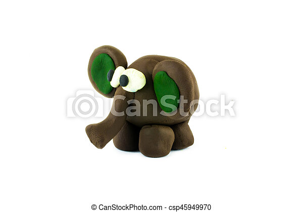 elephant , clay on the white background - csp45949970