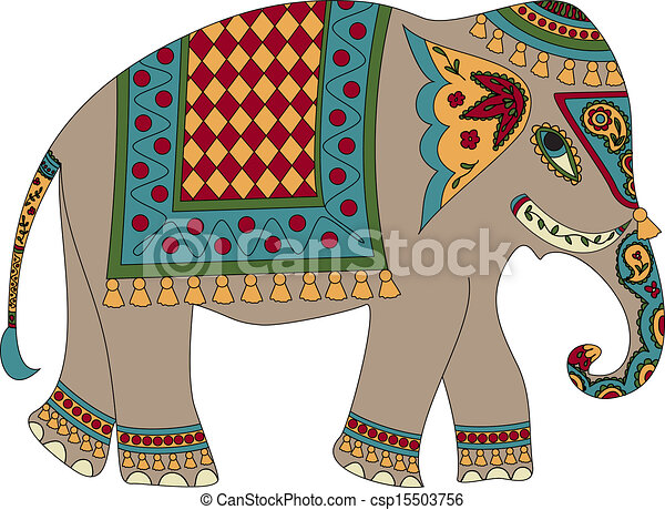 stylized patterned elephant in indian style rh canstockphoto com indian wedding elephant clipart Indian Elephant Sketch