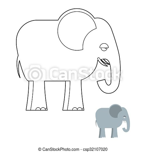 Elephant Coloring Book Big Animal Of Jungle With Long Trunk African Wild Beast