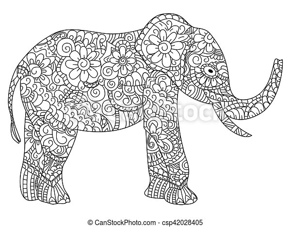 Elephant Coloring Book Vector For Adults Elephant Animal