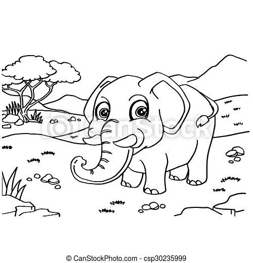 Elephant Coloring Pages vector - csp30235999